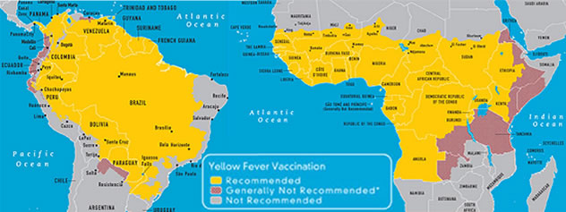 Yellow Fever Vaccination Map